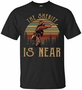 Teeprous Blazing Saddles The Sheriff is Near Vintage Black T Shirt Tees