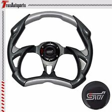 JDM Racing 320mm 6-Hole Steering Wheel Carbon Fiber Silver PVC Leather w/Emblem