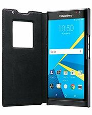 BlackBerry PRIV Wallet Case Genuine Leather Smart Flip Cover Window View NFC