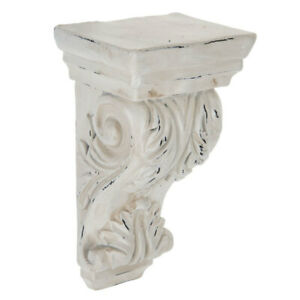 Antique White Ornate Carved Wood Corbel. Beautiful functional Home Accent