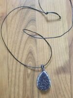 womens handmade beautiful black healing stone on 1mm long leather cord necklace