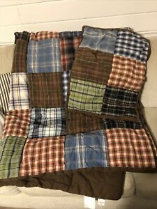 POTTERY BARN TEEN TWIN SIZE BOY COMFORTER AND SHAM BROWN PLAIDS GUC