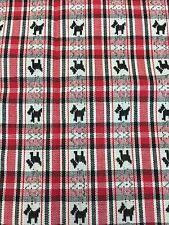 "BLACK SCOTTIE DOG RED JACQUARD CHECKS 100% COTTON FABRIC 40"" X 62"""