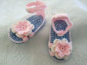 * Sandals - Crocheted * Baby Girls * Pink, Mauve & White *