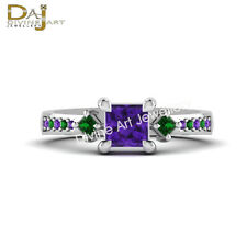 Harley Quinn Princess Cut Amethyst Emerald Anniversary Ring In Solid 925 Silver