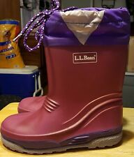 L.L. Bean insulated rubber boots for kids purple and red size 11 with laces