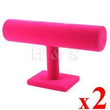 2 x Quality Velvet T bar Bangle Watch Bracelet Jewellery Display Stand Holder -H