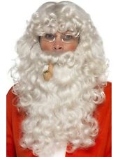 Deluxe Santa Claus Wig Beard Pipe Glasses Father Chrismtas Costume Accessory