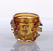 "New 4"" Hand Blown Glass Art Vase Candle Tealight Holder Amber Spike Decorative"
