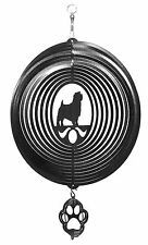 Swen Products Norfolk Terrier Dog Black Circle Swirly Combo Metal Wind Spinner