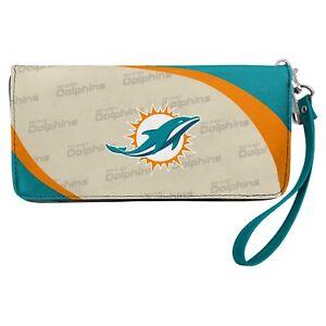 Miami Dolphins NFL Women's Curve Zip Organizer Wallet / Purse