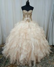 NEW Alta Couture by Mary's XV Quinceanera Dress 4T116 Peach/Gold Size 12