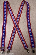 """Suspenders Children 1""""x30"""" FULLY Elastic White Stars NEW"""