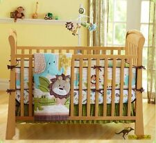 Baby Boys 7 Pieces Cotton Nursery Bedding Crib Cot Sets-Jungle Animals Brown