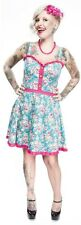 Sourpuss Rockabilly Rosey Luau Dress in Aqua with Pink Roses X Large