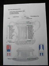 1974-75 F A Cup 3rd Round Luton Town v Birmingham City  Matchsheet