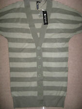 NEW WOMENS CLOTHES KHAKI GREEN LONG BOYFRIEND STYLE CARDI S/SLEEVE UK SIZE 8-10