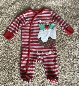 Next Baby Boy/Girl/Unisex Christmas Mummy's Little Pudding Babygrow Up To 1 Mth
