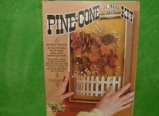 NOS Vintage Open Door 1978 Pine Cone Floral Art Kit PICKET FENCE 9 X 12 P1901