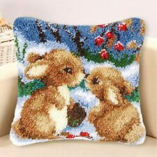 Rabbit Latch Hook Kit Wool Throw Pillow Cover Rug Pillowcase Embroidery