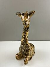 "LaVie Seated Porcelain Giraffe African Safari Animal Patchwork Print 11"" Tall"
