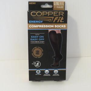 Copper Fit Compression Socks - Black 1 Pair Men 9-12, Women 10-13