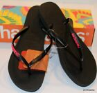 HAVAIANAS Genuine NEW Ladies Slim POP UP THONGS FLIP FLOPS BLACK NEON PINK Surf