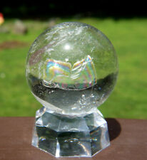 Lemurian Quartz Sphere / Crystal Ball with Rainbow ~ Stand Included