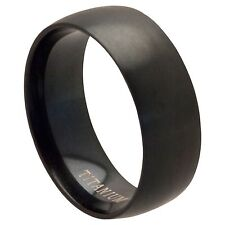 NEW 8mm Black Titanium Mens or Womens Wedding Band Pinky Ring (Sizes J to Z+2)