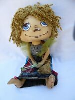 "OOAK Handmade Cloth 13"" doll with wand, hand painted face, yarn hair. NEW."