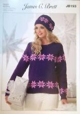"James Brett Christmas DK Knitting pattern Ladies Jumper Hat 28/30""- 44/46"" JB193"