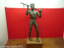 Superbe ancien important bronze africain, guerrier