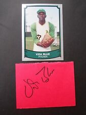 Vida Blue, Autographed on a piece of cardboard, with Baseball card, Pitcher