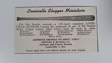 Mickey Mantle Richie Ashburn Ted Williams 1959 Louisville Slugger Mini Bat Ad