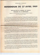 DOCUMENT / REFERENDUM DE 1969 / DE GAULLE / 16 PAGES...