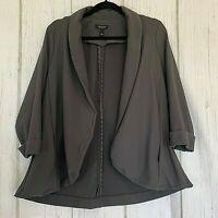 Torrid Women's Size 1 Open Front 3/4 Sleeve Shawl Collared Gray Blazer Jacket