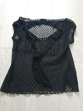 M&S See Thru Black Blouse Woth Spots To Be Worn With Vest Size 16
