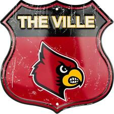 "University of Louisville Cardinals The Ville 11"" Shield Metal Sign Embossed"