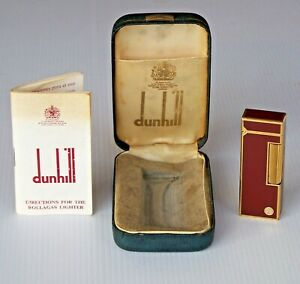 VINTAGE DUNHILL MAROON D-LOGO LACQUER ROLLAGAS CIGARETTE LIGHTER w BOX + PAPERS