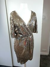 Topshop 12 TFNC Gold/ Silver Sequin Wrap Dress Christmas party new years sparkle
