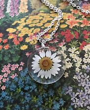Real  Daisy Daisies Flower  Resin Necklace 24""