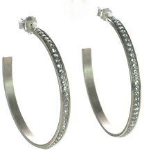 Solid 925 Sterling Silver Made In Italy Swarovski Crystal Hoop Earrings '