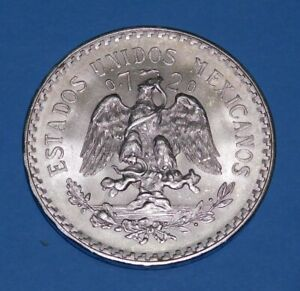 1944 MEXICO 1 PESOS  - Silver - UNC.