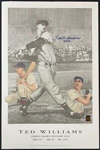 Ted Williams Signed Triple Crown Watkins 23x35 Lithograph Photo Auto 104/521