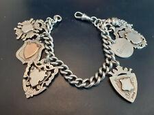 Superb Victorian Antique Hallmarked SILVER Charm Fob Bracelet Chain 64.8g +Gold