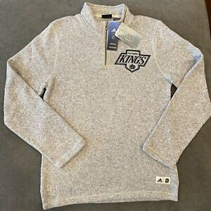 Adidas Authentic NHL Hockey Los Angeles Kings 1/4 Zip Pullover Casual Sz S L New