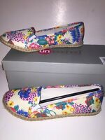 "UNLEASHED by ROCKET DOG Women's ""CICLY"" Espadrille Flats WHITE FLORAL 8M NEW Box"