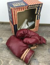 VTG McKinnon2155B Made in USA Maroon Soft Leather Boxing Gloves W/ Box Man Cave