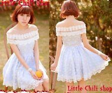 Kawaii Princess Cute Sweet Dolly Lolita Lace Cape Sleeve one-shoulder Dress