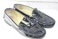 Tod's 9 Black Leather Patent Loafers Women's Shoes